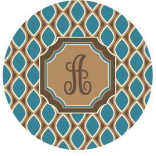Hansley Monogrammed Blue Area Rug