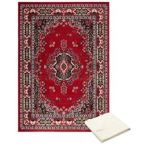 Rossman Persian Red Area Rug with Rug Pad