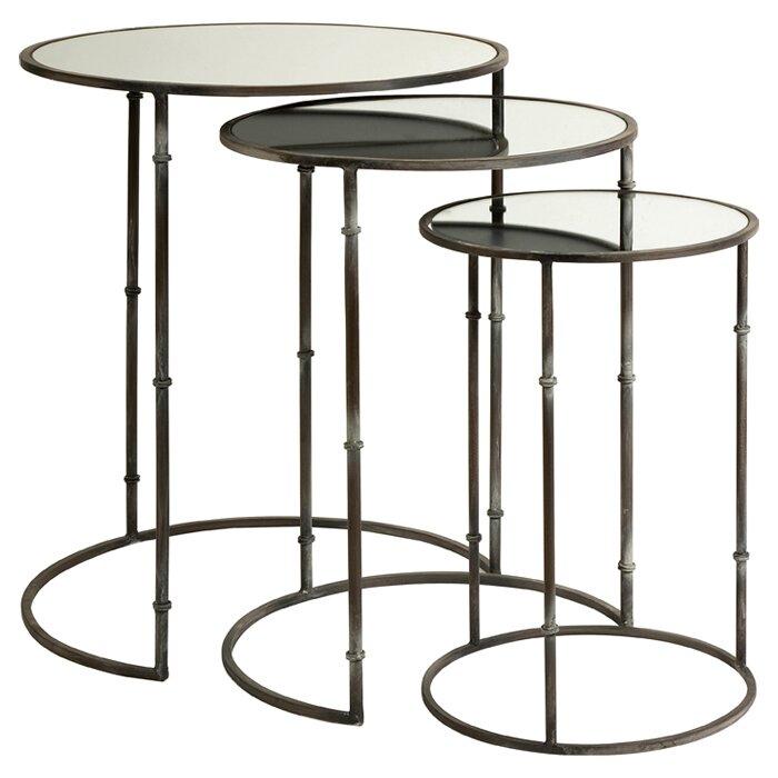 Great 3 Piece Flouressa Mirror Top Nesting Tables