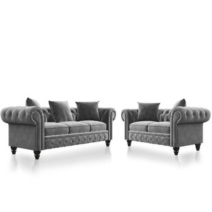 2 Pieces Chesterfield Sofa Set by House of Hampton