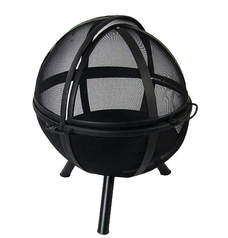 ball fire pit. sphere flaming ball steel wood fire pit with protective cover