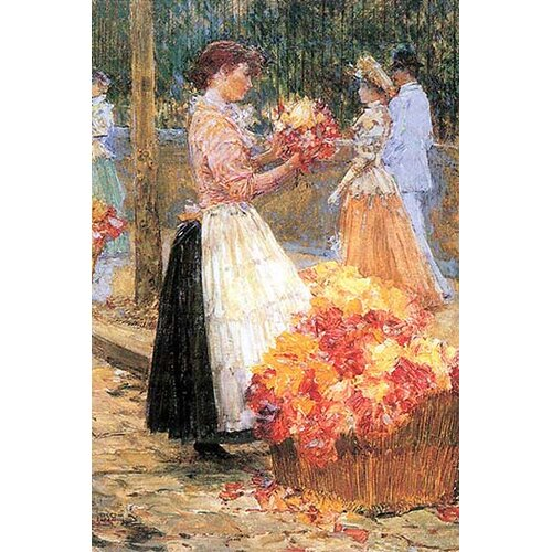 Woman sells flowers by Childe Hassam Giclee Fine Art Print Repro on Canvas