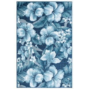 Best Mario Tropical Flower Blue/White Indoor/Outdoor Area Rug ByBay Isle Home