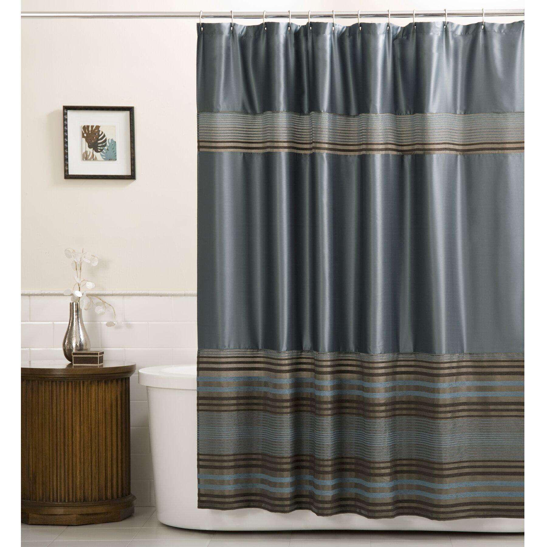 Camborne Striped Chenille Single Shower Curtain