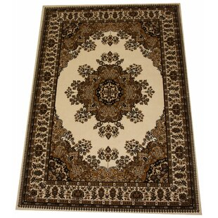 Barrville Wool Brown/Cream Rug by Charlton Home