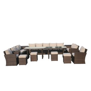 Latitude Run Michelson 14 Piece Rattan Sectional Seating Group with Cushions
