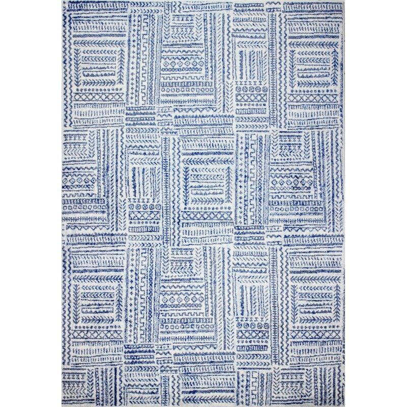 Dakota Fields Chupp Geometric Ivory Blue Area Rug Reviews Wayfair