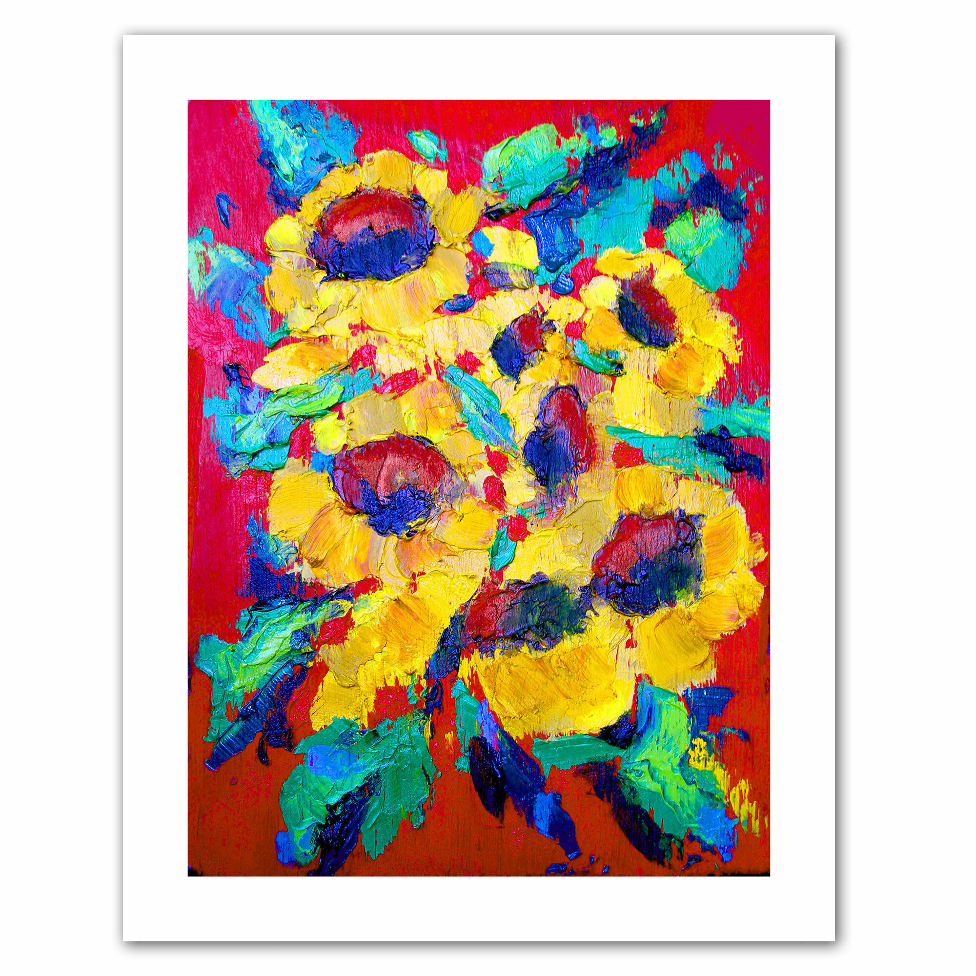 Artwall Sunflower On Shingel Roof By Susi Franco Painting