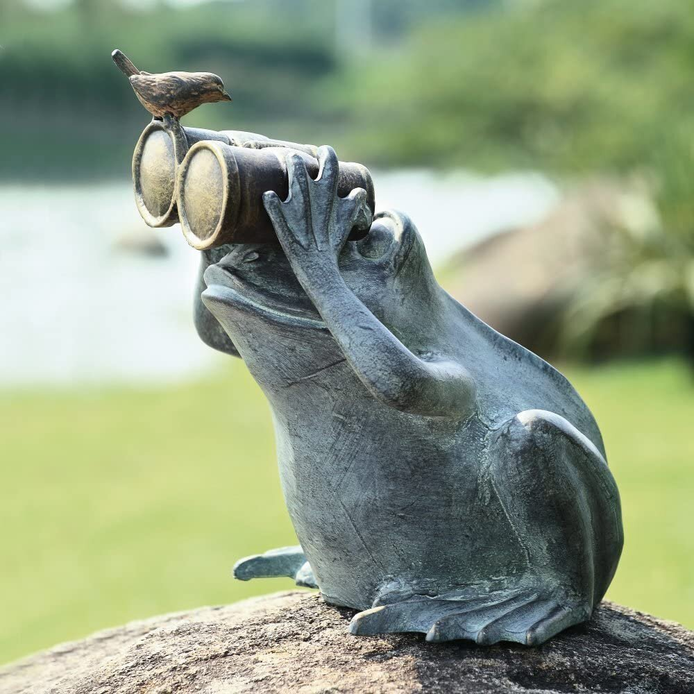 Rosalind Wheeler Gerardi Verdi Curious Frog Holding Binoculars With A Bluebird Garden Statue Wayfair