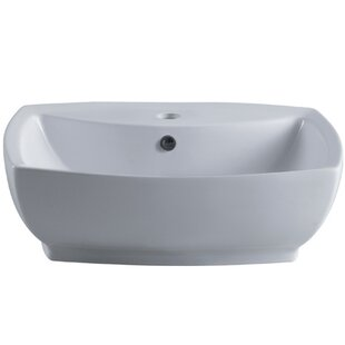 Kingston Brass Marquis Ceramic Rectangular Vessel Bathroom Sink with Overflow