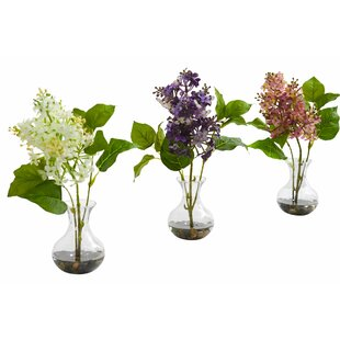 Artificial 3 Piece Lilac Floral Arrangement in Vase Set