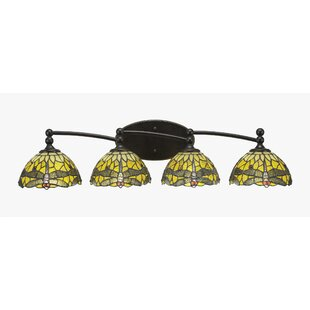 Winston Porter Skypark 4-Light Dragonfly Tiffany Glass Shade Vanity Light