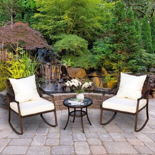Ophelia Outdoor 3 Piece Rattan Conversation Set with Cushions