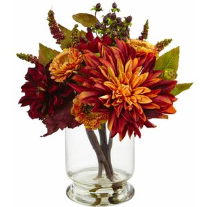 Dahlia and Mum with Vase Arrangement