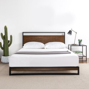 Dennise Metal and Wood Platform Bed by Williston Forge
