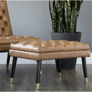 Anirudh Leather Tufted Cocktail Ottoman By Brayden Studio