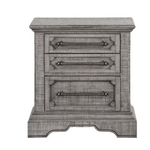 Johana Wooden 3 Drawer Nightstand