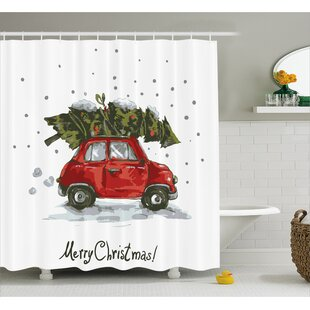 Christmas Retro Car with Tree Single Shower Curtain