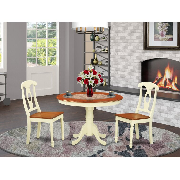Lark Manor Shayla 2 - Person Rubberwood Solid Wood Dining Set