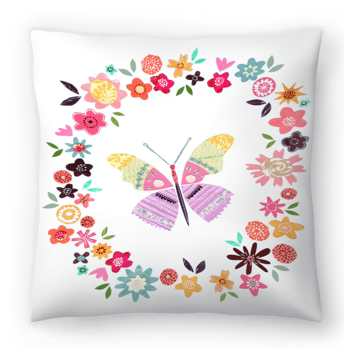 East Urban Home Liz And Kate Pope Pretty Butterfly In Flower Frame Throw Pillow Wayfair