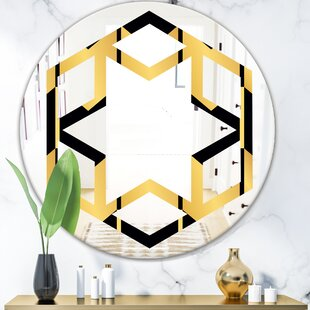 Hexagon Star Luxury Metallic Geometrics V Eclectic Frameless Wall Mirror