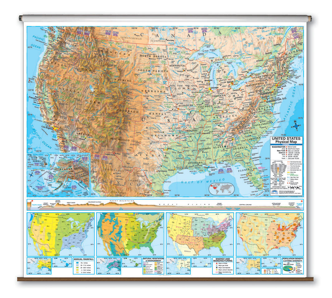Universal Map Advanced Physical Map - United States | Wayfair