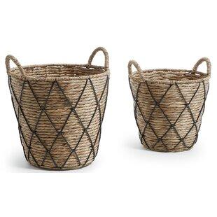 Immokalee Wicker 2 Piece Basket Set By Beachcrest Home