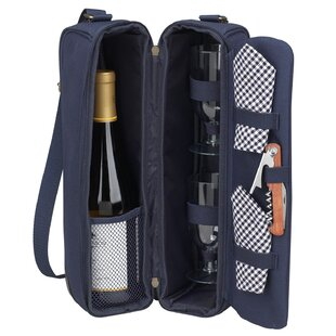 Classic Sunset Depinot Wine Carrier for Two in Navy