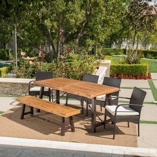 17 Stories Poitras Outdoor 6 Piece Dining Set with Cushions