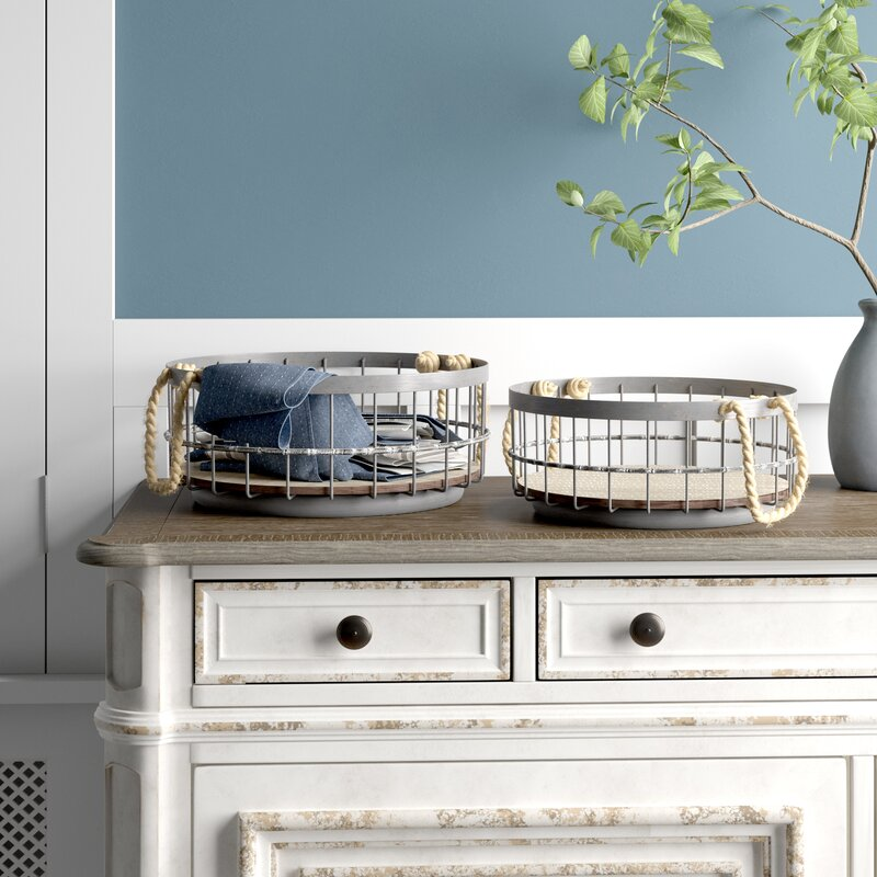 Adalynn 2 Piece Wire and Wood Coastal Basket Set