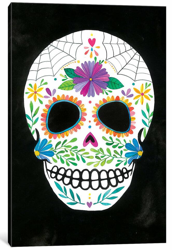 East Urban Home Sugar Skull Ii Painting Print On Canvas Wayfair