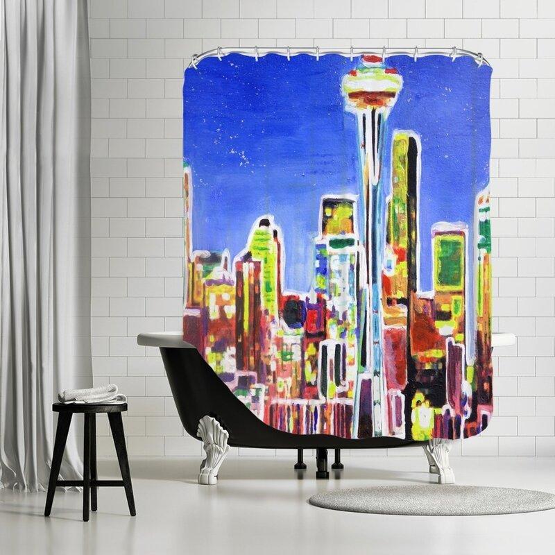 Markus Bleichner Terrones Neon Shimmering Seattle Skyline Shower Curtain