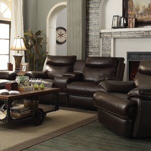 Hughes Leather Reclining Loveseat by Red Bar..