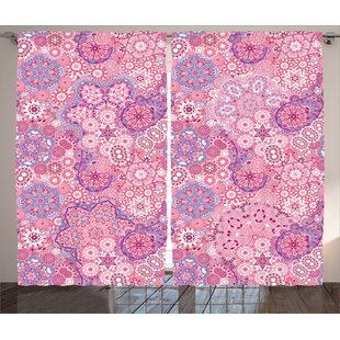 Norma Mauve Paisley Pattern Floral Folk Design Semi-Sheer Rod Pocket Curtain Panels (Set Of 2) by Zoomie Kids