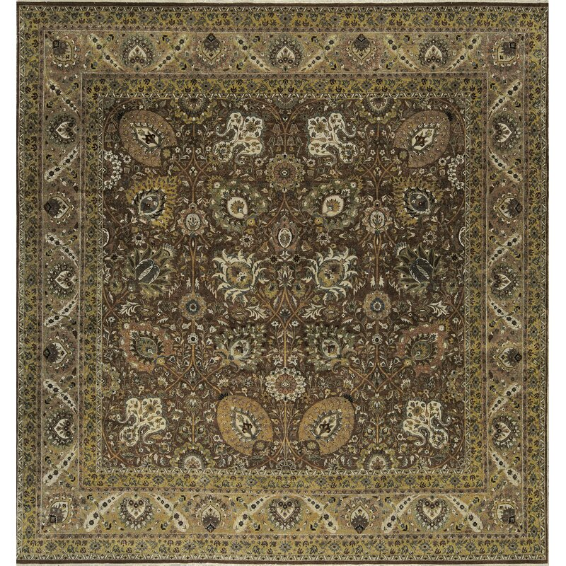Bokara Rug Co., Inc. One-of-a-Kind Hand-Knotted Square 135 x 1311 Wool Brown/Green Area Rug