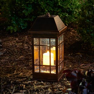 Solar Bronze Solar Powered LED Outdoor Lantern With Electric Candle By Smart Solar