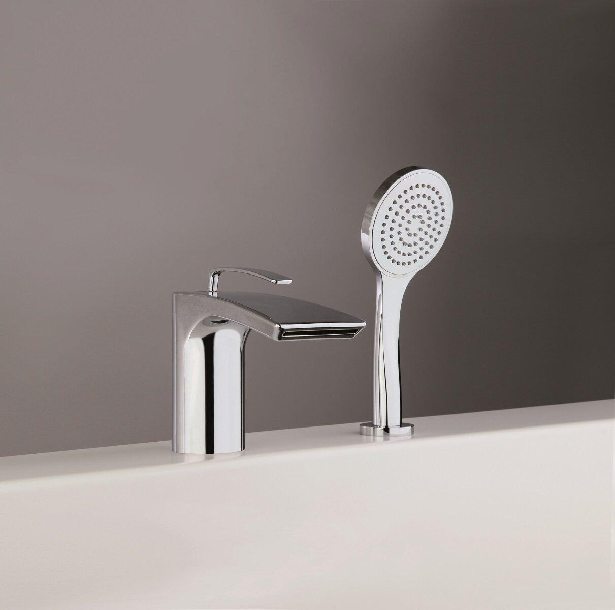 Aquatica Bollicine Single Handle Deck Mounted Roman Tub Faucet Trim Trim With Handshower Wayfair