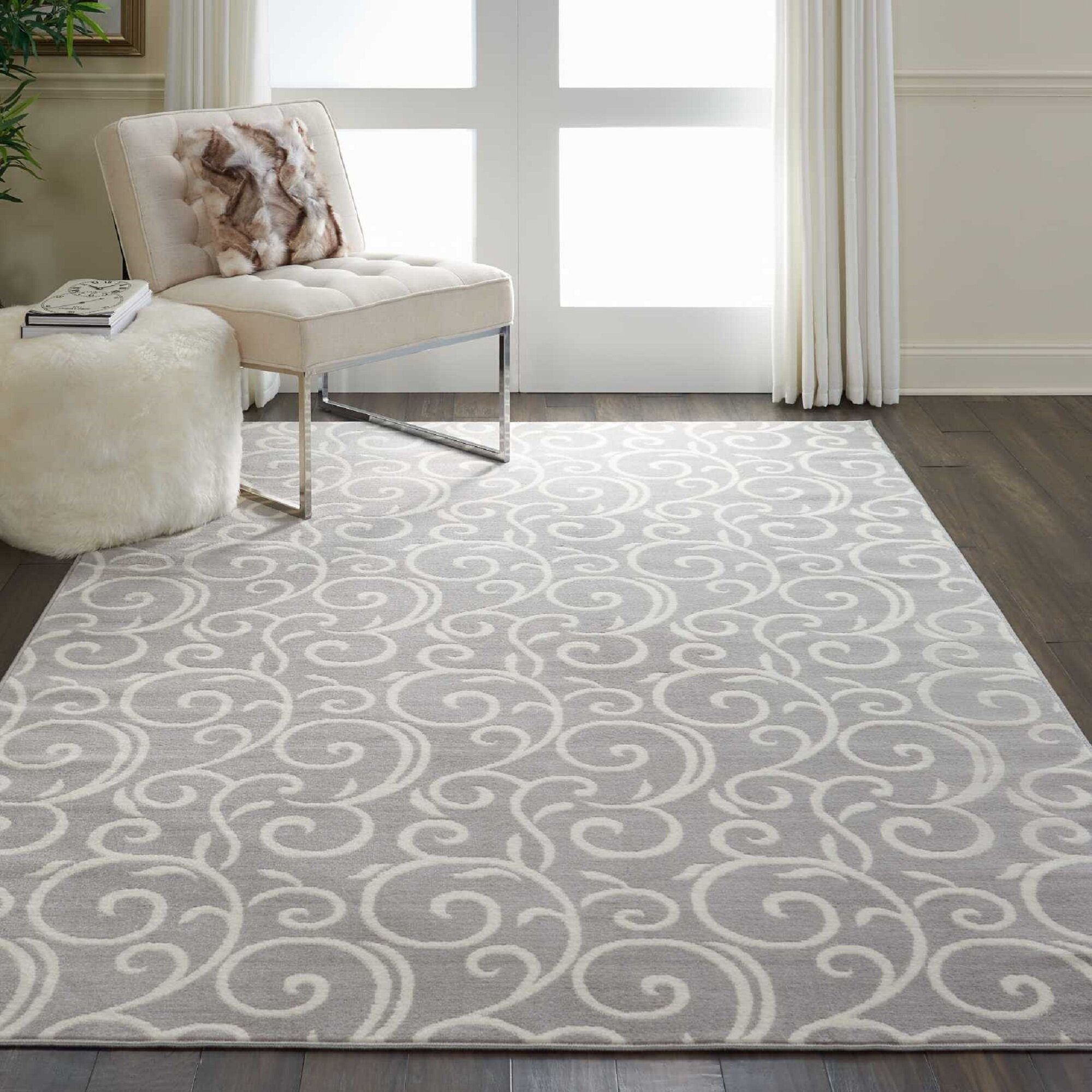 Charlton Home Susan Floral Gray Area Rug Reviews Wayfair