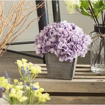 Ophelia Co Hydrangea Floral Arrangement In A French Label Pot Reviews Wayfair