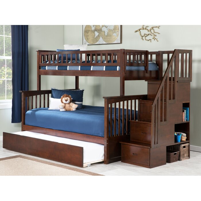 Abel Staircase Twin Over Full Bunk Bed with Trundle