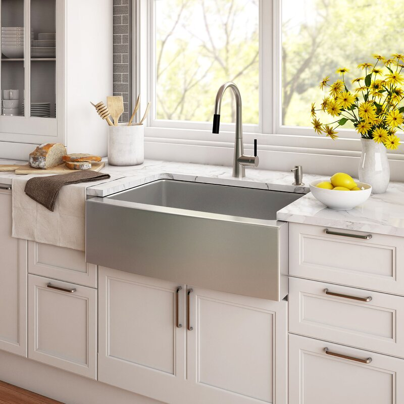 "Farmhouse Kitchen Sinks kraus stainless steel 29.75"" x 20"" farmhouse kitchen sink with"
