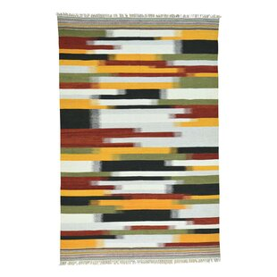 Affordable Little Italy Durie Kilim Flat Weave Hand-Knotted Red/Black/Orange Area Rug By Bloomsbury Market
