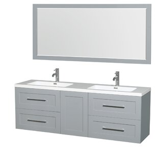 Comparison Olivia 72 Double Dove Gray Bathroom Vanity Set with Mirror ByWyndham Collection