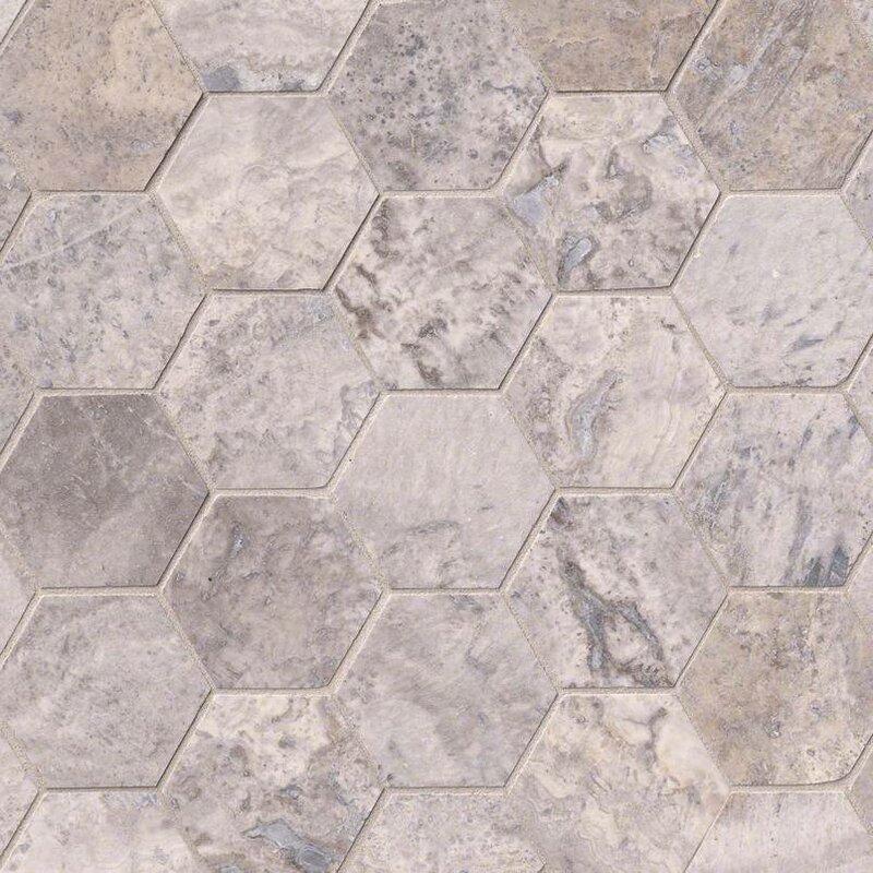 Silver Travertine Hexagon 3 X Mosaic Tile