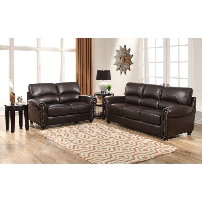Boley 2 Piece Leather Living Room Set
