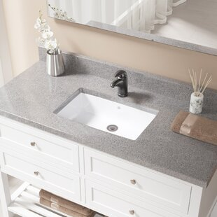 Compare prices Vitreous China Rectangular Undermount Bathroom Sink with Overflow And Drain Assembly By MR Direct
