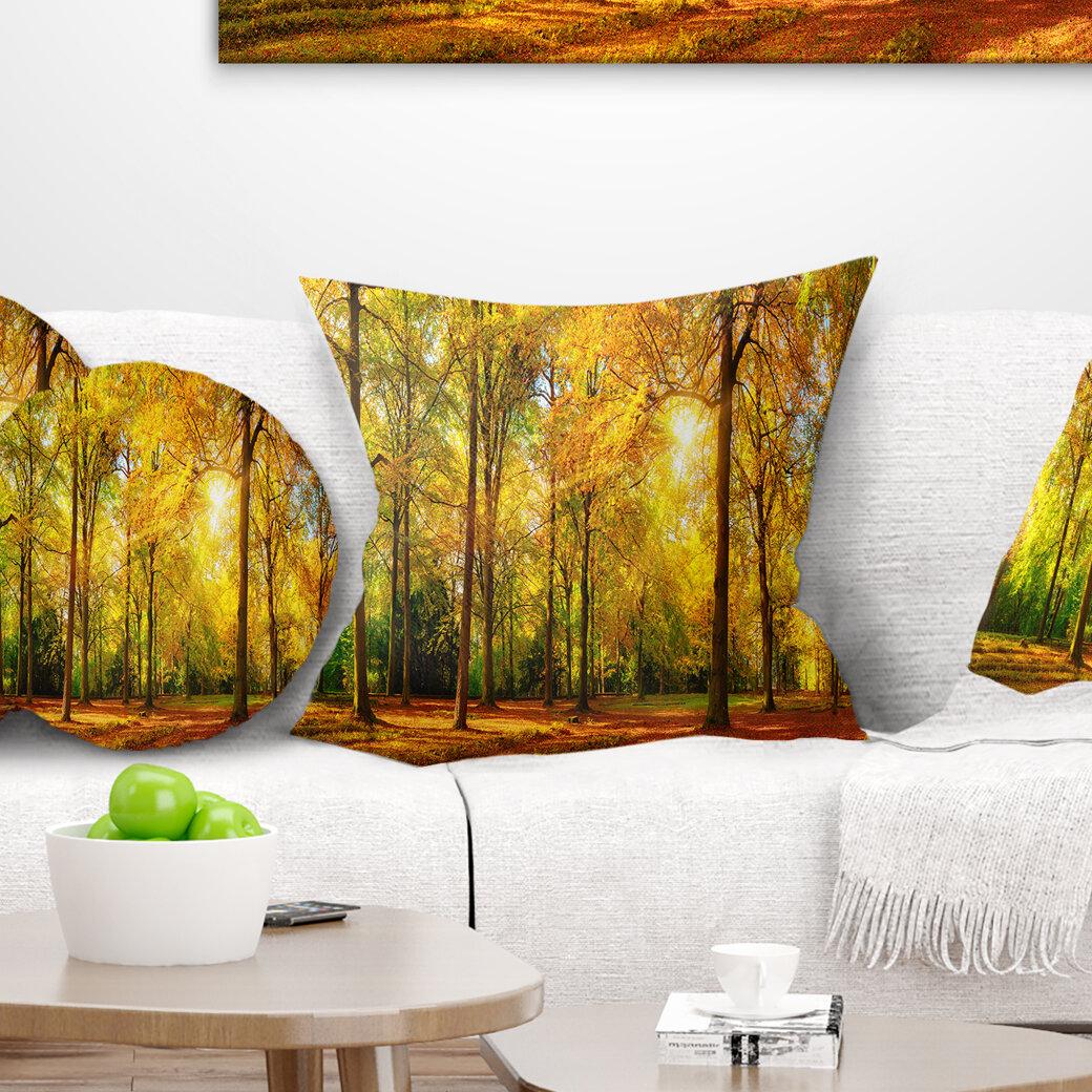 East Urban Home Landscape Photography Gorgeous Autumn Of Sunny Forest Pillow Wayfair