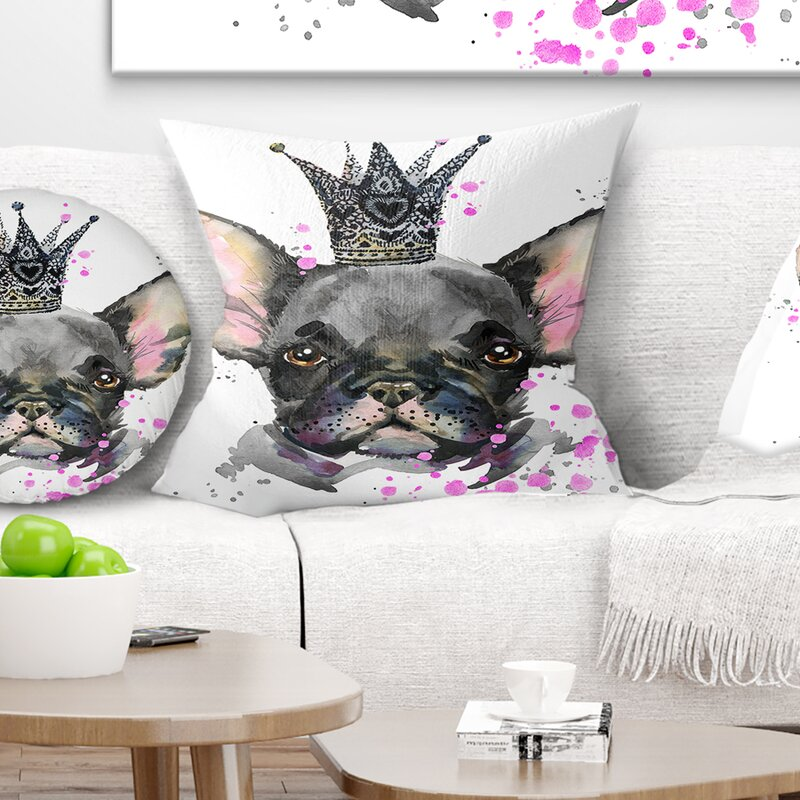 East Urban Home Animal Cute Dog With Crown Pillow Wayfair