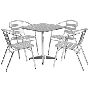 Hamish Square Indoor Outdoor 5 Piece Bar Height Dining Set