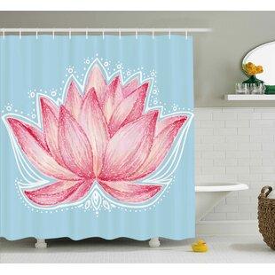 Lee Lotus Gardening Theme Illustration of a Lotus Flower Pattern Decorative Design Single Shower Curtain